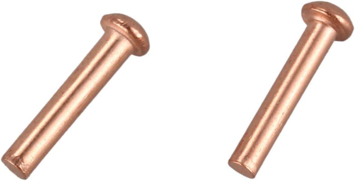 Naliovker 100 Piezas 5//64 Pulgadas X 25//64 Pulgadas Cabeza Redonda Cobre S/óLido Remaches Sujetadores