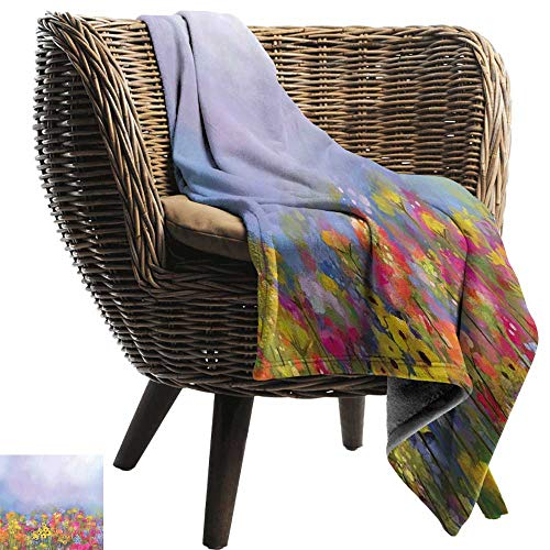 Sillgt Blanket Custom Photo Flower Blooming Tulips with Green Leaves in The Botanical Garden with Paint Effect Image Recliner Throw,Couch Throw, Couch wrap 84