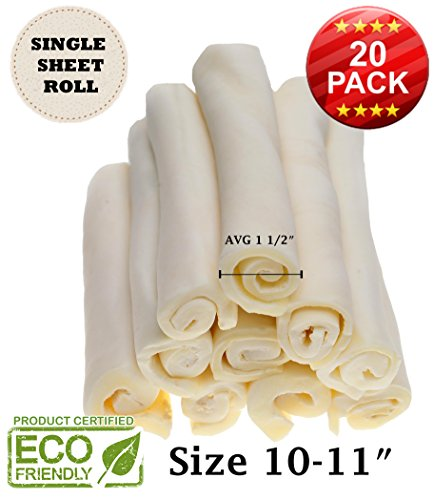 "Rawhide Retriever Roll - Superior Premium Retriever Roll (10-11"") only roll Made with a Single Sheet (NO Chips) 100% Natural, no Chemicals. Wholegrain Cowhide (Last Much Longer Than Traditional roll)"