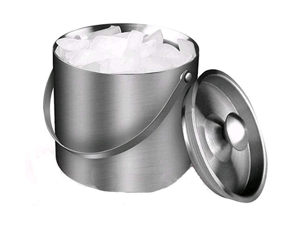 Boweiwj 3 Liter Stainless Steel Ice Bucket, Double Layer Insulation Thickening Bucket with Lid and Portable Handle