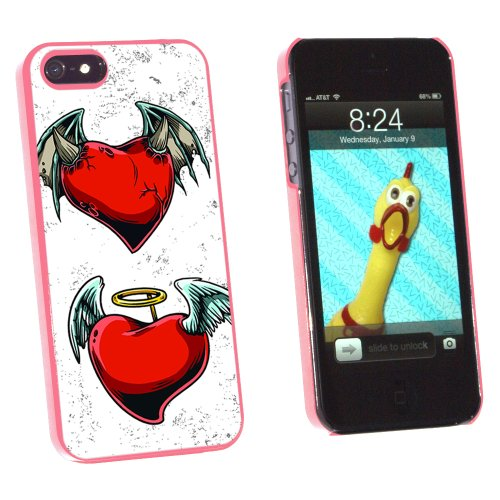 Graphics and More Devil and Angel Hearts - Love Romance Broken - Snap-On Hard Protective Case for Apple iPhone 5/5s - Non-Retail Packaging - Pink