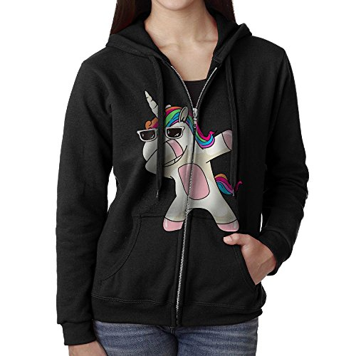 Hip Hop Cool Dabbing Dab Dance Cute Lovely Unicorn Womens Zipper Hooded Sweatshirt Jacket