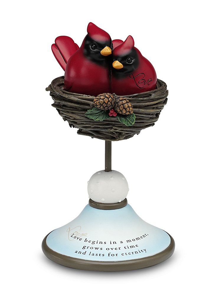 Really Red by Pavilion 42024 7-1/2-Inch Tall Decorative Cardinal Pair, Love Sentiment