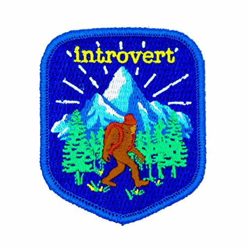Introvert 100% Embroidered Outdoors Patch - Great for Kids and Outdoor Explorers - Hook Backed, Iron or Sew On (Hook Backed) ()