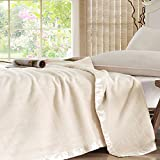 ELLESILK Silk Blanket, Pure Long Strand 100% Mulberry Silk, Comfort and Warmth, Ivory, Queen