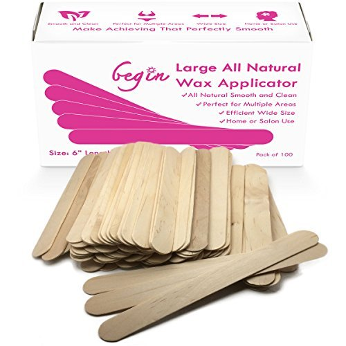 Begin Large All Natural Wax Applicator Sticks 6'' (Pack of 100)