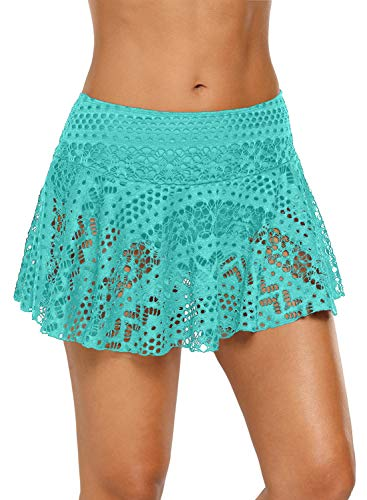 - ENLACHIC Women's Lace Crochet Skirted Bikini Bottom Swimsuit Short Skort Swimdress,Lace Green,Small