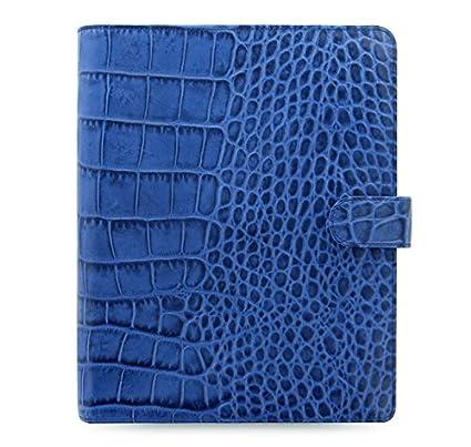 Filofax Classic Croc Print Leather Organizer Agenda Calendar A5 Size in Indigo Blue with DiLoro Jot Pad Refills (A5, Indigo 2017, 026009)