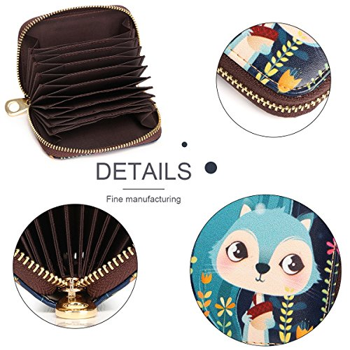 Card Genuine Zipper Accordion Fox Women Travel Ladies Blue Pocket Security Cartoon Card Credit RFID Small Purse Wallet Box for Leather Case APHISONUK Wallet Red for with Style ID Squirrel 015 Patterns Gift Holder 6nPgCdx