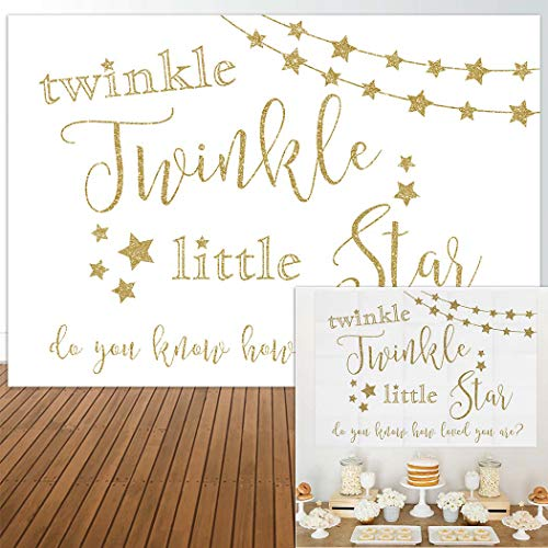 Allenjoy 7x5ft Twinke Twinke Little Star Backdrop Gold Glitter Background Girl boy Birthday Party Dessert Candy Cake Table Decor Decoration Baby Shower Banner Photo Shoot Booth