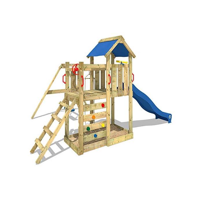51um%2B IAbHL WICKEY Torre de escalada incluyendo conjunto completo de accesorios con columpio, tobogán muro para trepar y cajón de arena Poste 9x4,5cm - Poste de columpio 9x9cm - Altura de plataforma 120cm - Madera maciza impregnada a presión Calidad y seguridad verificadas - Instrucciones de montaje sencillas y detalladas - Made in Germany