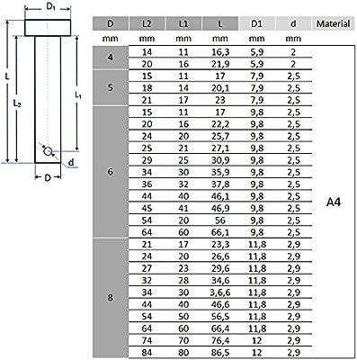 Pasador de seguridad 4-14/mm de Bootsteile Braueur/® fabricado en acero inoxidable A4 5 unidades