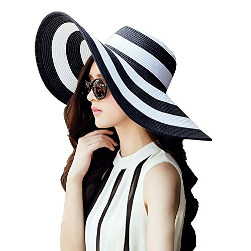 DRESHOW Straw Sun Hat Twist Bow Toquilla UPF 50+ Floppy Foldable Roll up Beach Cap Su Hat For Women (Black-White)