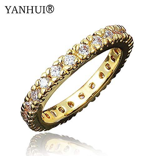 Brand Princess Real 24k Gold Filled Tail Ring Full Wedding Rings for Women Hr530