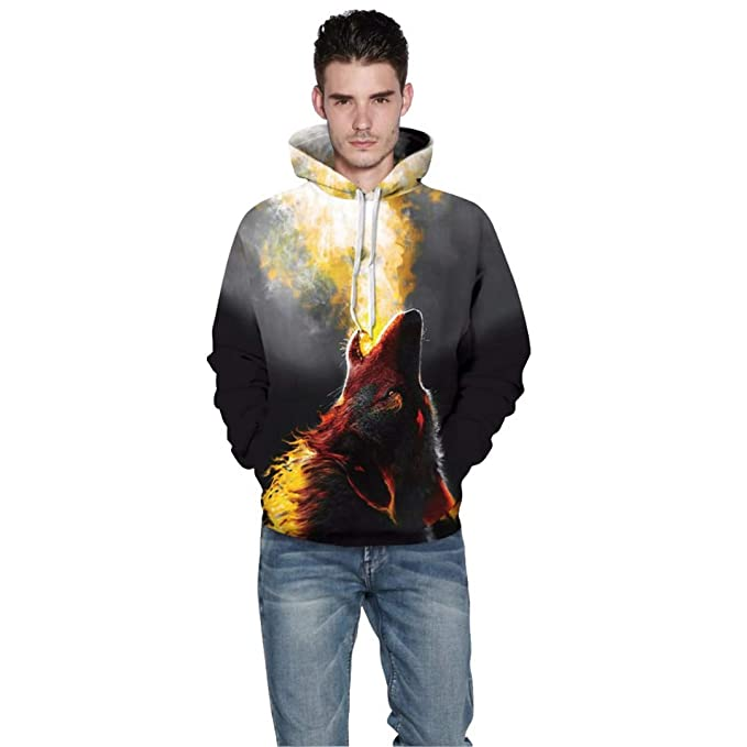 Amazon.com: 3D Spitfire Wolf Unisex Long Sleeve Hooded Thin Tracksuit Fire Wolf Pullover Hoodies: Clothing