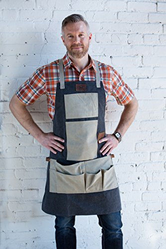 Superior Trading Co. Heavy Duty Canvas Work Apron with Tool Pockets (Blue and Grey), Cross-Back Straps and Adjustable M to XXL by Superior Trading Co.