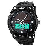 SKMEI 1049 Solar Power Men Waterproof Quartz Analog Digital Sports Wrist Watch Silver