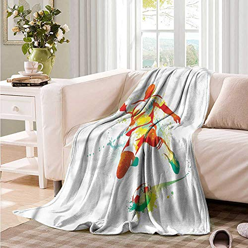 Oncegod Blanket Custom Photo Sports Soccer Player Kicks The Ball Throw Blanket Adult Blanket 91