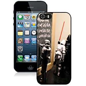 NEW Unique Custom Designed iPhone 5S Phone Case With Funny Star Wars Darth Vader Teacher Punishing Stormtrooper_Black Phone Case