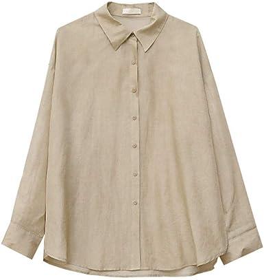 Blusas Y Camisas para Mujer Camisa Informal Suelta con Lazo Rojo Teñido @ Beige Código: Amazon.es: Ropa y accesorios