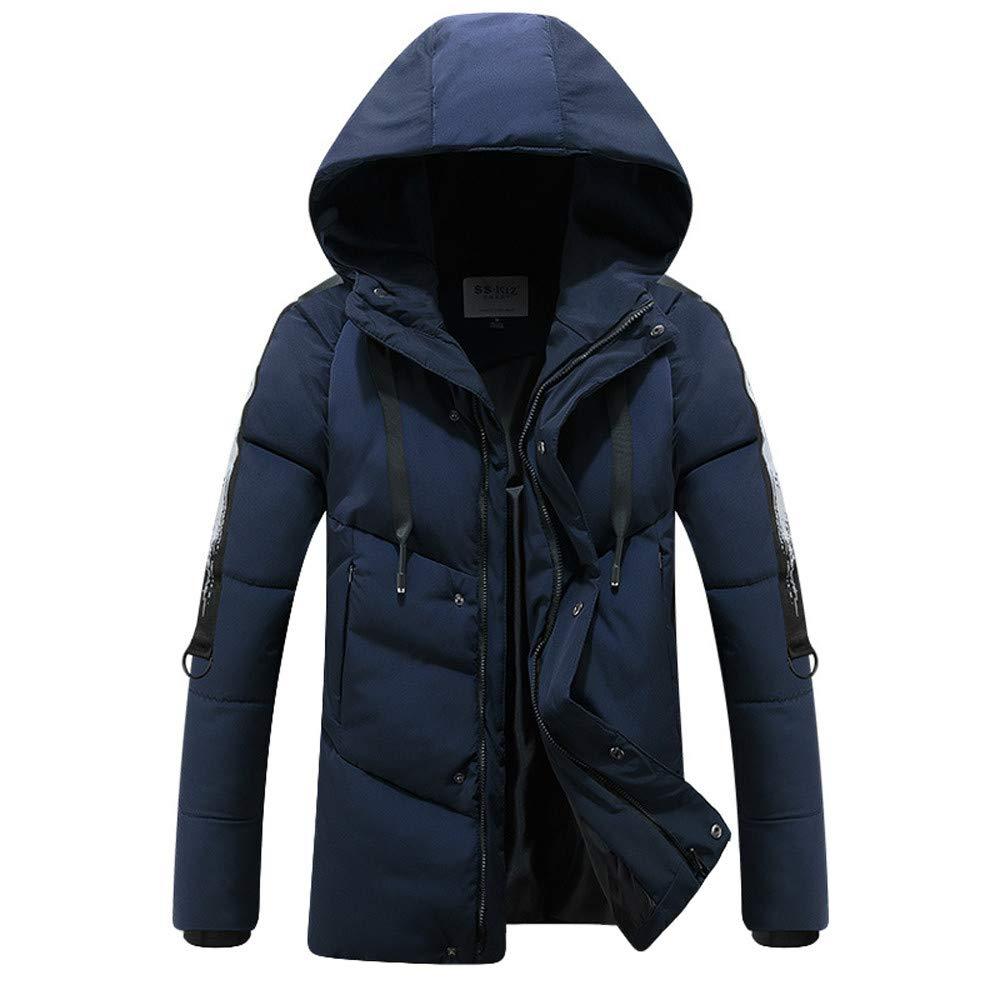 YUTAO Mens Fashion Winter Hoodie Pocket Zipper Thickened Cotton Outwear Jacket Coat