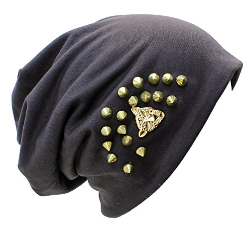 AN- Unisex Edge Spiked Studded Soft Midweight Fleece Lined Cotton Beanie Hat Skull Cap w/ Skull Ring, Star , Leopard Face (Charcoal Gray Leopard (Cotton Midweight Cap)