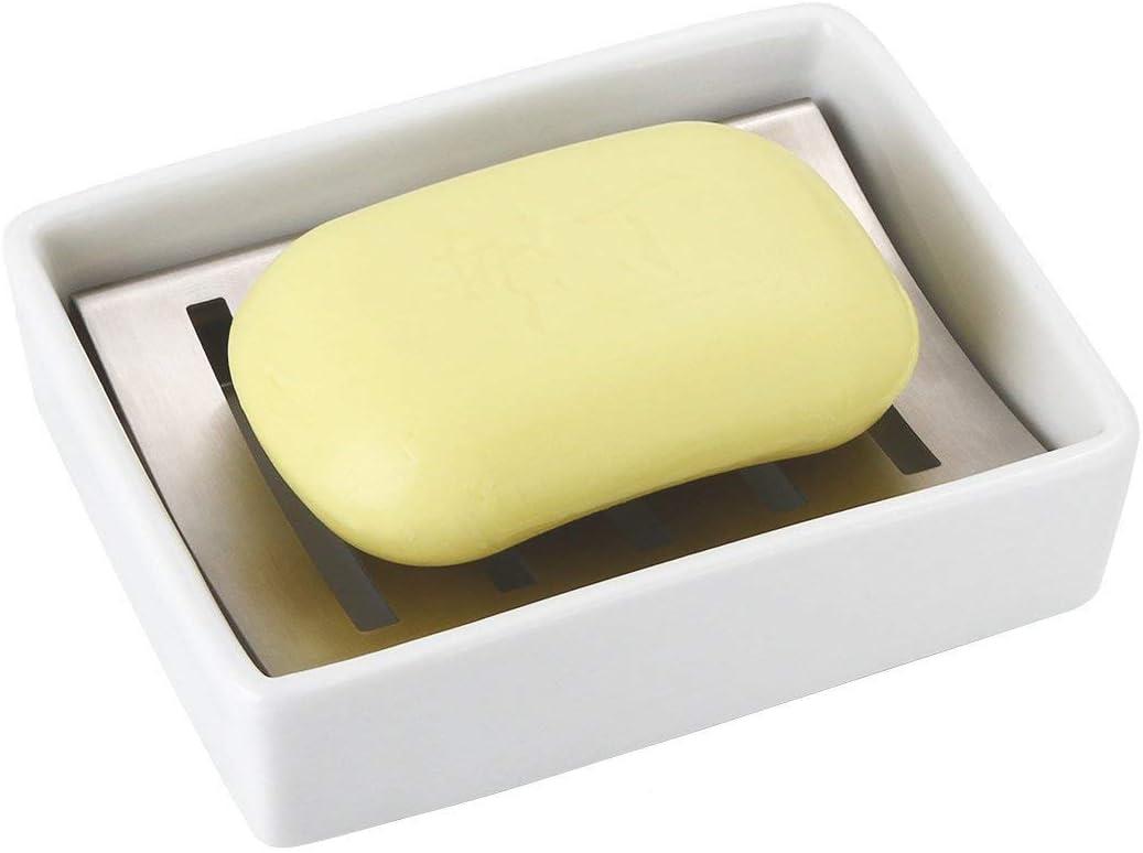Sumnos Jabonera de Acero Inoxidable con Soporte de cerámica para jabón, Fregadero de baño, jabonera, Doble Capa de Drenaje