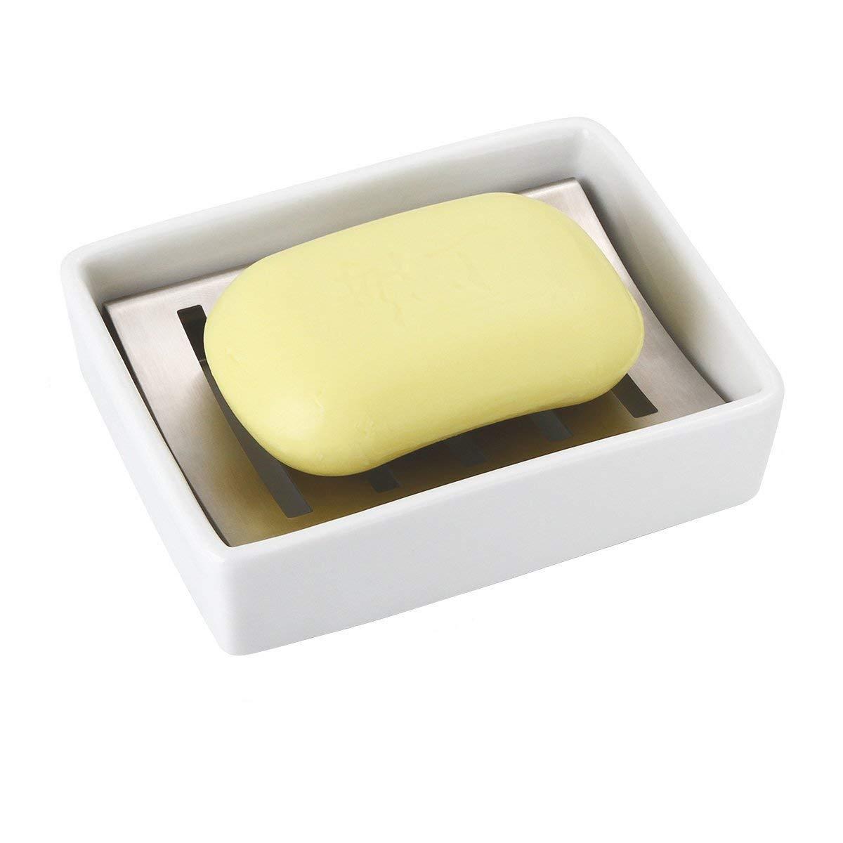 doppio strato di scarico Portasapone in ceramica con portasapone in acciaio inox portasapone per lavabo