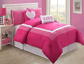 4 Pc Modern Pink And White Teen/girl Comforter Set, Twin Size Bedding,