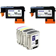 HOTCOLOR (Combo Sets) Including 2PK Premium Long-life for 940 Printhead Black/Yellow & Magenta/Cyan C4900A C4901A and 5PK for 940XL Ink Cartridge Show Ink (2 Black 1 Cyan 1 Magenta 1 Yellow)