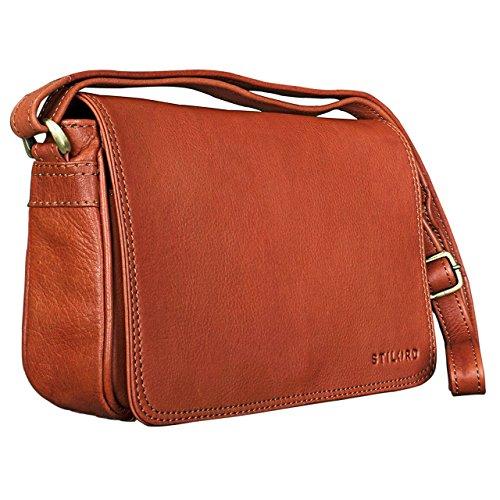 STILORD 'Leana' Vintage Bolso bandolera pequeña elegante Bolso de mano con correa Mujeres para iPad 9.7 Tablet cuero, Color:cognac-marrón cognac-marrón