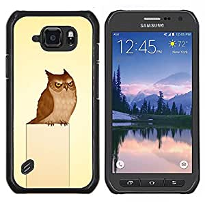 TECHCASE---Cubierta de la caja de protección para la piel dura ** Samsung Galaxy S6 Active G890A ** --Búho gruñón del arte del pájaro Dibujo Fairytale