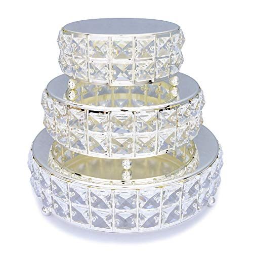 (3Pcs/Set Mirror Top Bling Crystal Wedding Cake Stand, Cupcake Base, Dessert Serving Plate/Centerpiece(set)