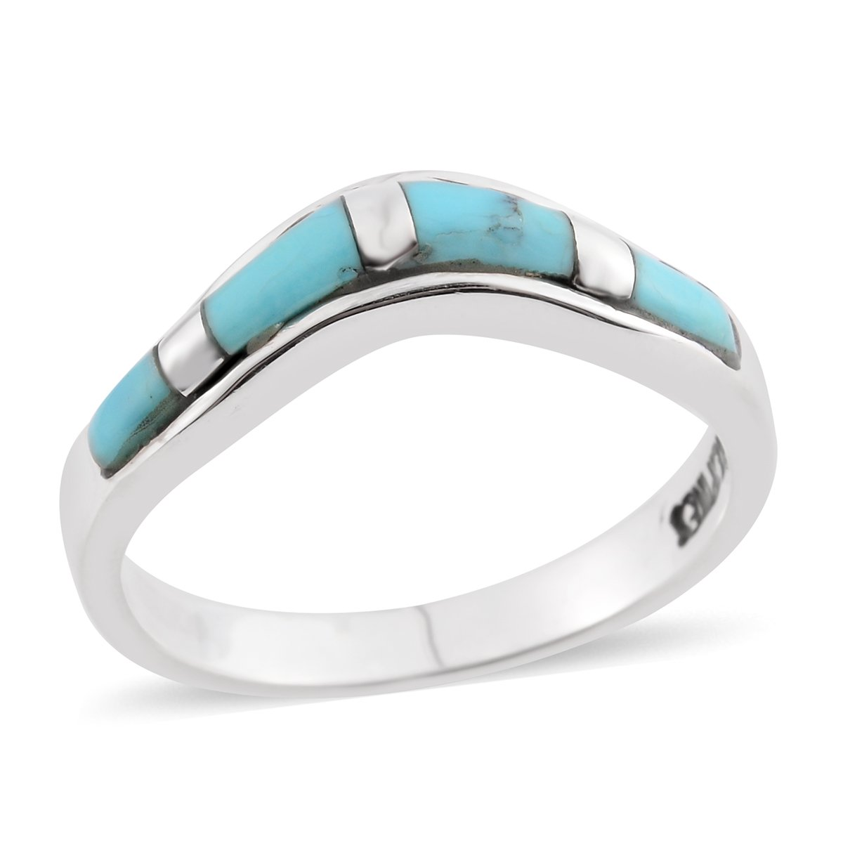 925 Sterling Silver Turquoise Band Gift Ring for Women Size 6