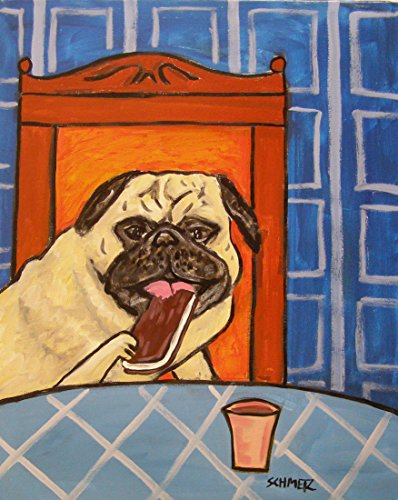 Pug ice Cream Sandwich Parlour decor signed dog art print Dog Ice Cream Sandwiches