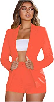 Briskorry Womens Blazer Suit Two-Piece Set Office Wear Crop Top Coat Shorts Pants with Belt
