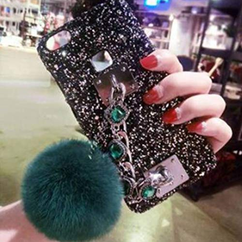 Baynne iPhone 7 Case,iPhone 8 Case,Glitter Sparkle Bling Case with Wool Ball Hanging Chain for Girls Women [Shock-Absorption] for iPhone 7 8 ()