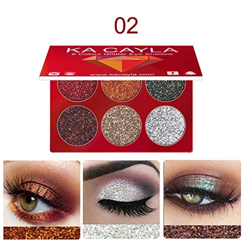 Makeup Eye shadow Palette, KA CAYLA Makeup Eye shadow Eyeshadow Palette Cosmetic Set Eye Shadow 6 Colors (B) ()