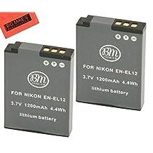 BM Premium 2-Pack Of EN-EL12 Batteries for Nikon Coolpix A900, AW100, AW110, AW120, AW130, S31, S800C, S6100, S6200, S6300, S8100, S8200, S9050, S9100, S9200, S9300, S9400, S9500, S9700, S9900, P300, P310, P330, P340, S1100PJ, S1200PJ Digital Camera