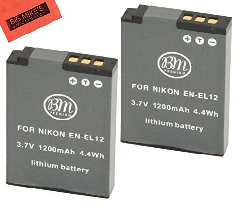 BM PREMIUM 2 BATERÍAS EN-EL12 PARA NIKON KEYMISSION 170, 360, Coolpix W300, A900, AW100, AW110, AW120, AW130, S6300, S8100, S8200, S9050, S9200, S9300, S9400, S9500, S9700, S9900, P310, P330, P340