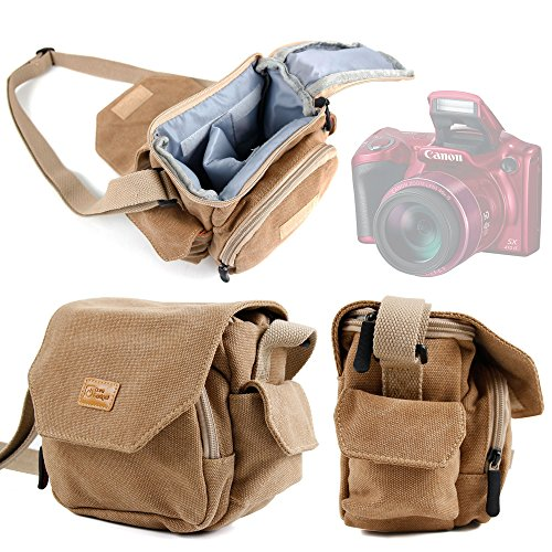 DURAGADGET Light Brown Medium Sized Canvas Carry Bag - Suitable for The Canon Powershot SX410 is / SX530 HS Bridge Camera - with Multiple Pockets & Customizable Interior Compartment