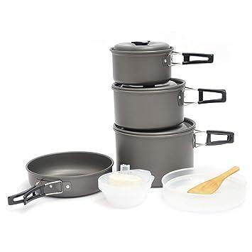 AOKASIX Kit de Utensilios de Cocina para Acampar Sartenes antiadherentes Juego de Cocina portátil para Acampar Senderismo Barbacoa Picnic al Aire Libre: ...