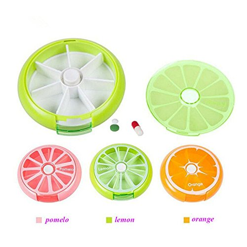 3PCS Pill Organizer,Pill Storage Case,7 Day Weekly Pill Box Outdoor Traveling Round Tablet,Fruit Shape