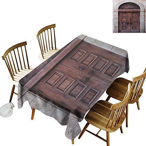 (Camping Rectangular Tablecloth W60 x L84 Rustic Arched Wooden Venetian Door with Eastern Royal Ottoman Elements European Culture Brown Cream Great for Holiday More)