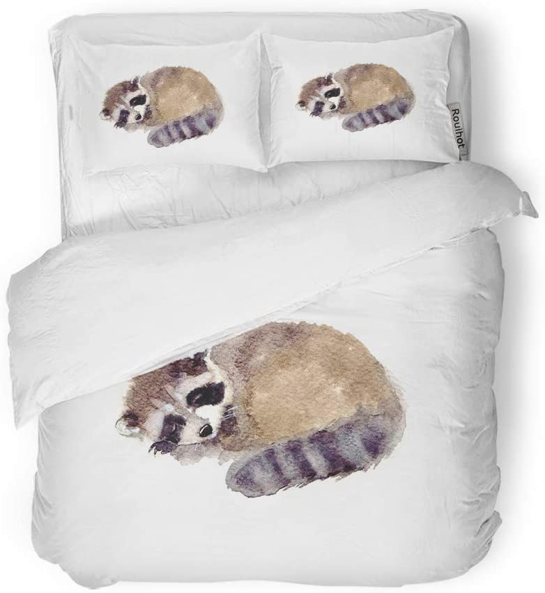 rouihot Duvet Cover Set Twin Size Wild Watercolor Raccoon Forest Animal Cute Baby Sketch Woodland 3 Piece Microfiber Fabric Decor Bedding Sets for Bedroom