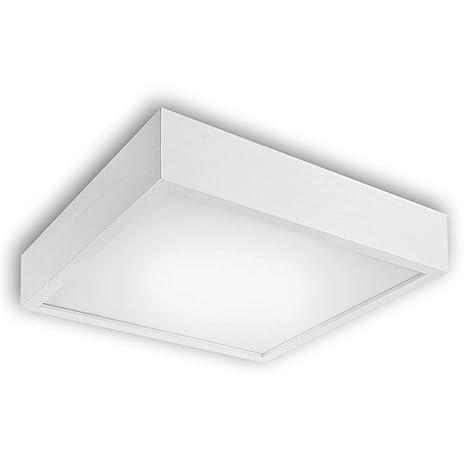 Lámpara de techo de madera/cristal Madrid wengué Blanco ...