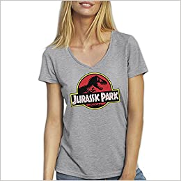 Friendly Bees Jurassic Park Dino Logo Gris T-Shirt Camiseta Cuello V para la Mujer Medium: Amazon.es: Libros