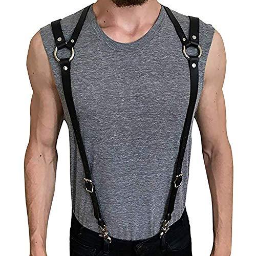 Men's Black Leather Chest Half Body Harness Belt Adjustable Buckle Straps Clubwear Costume(M01)