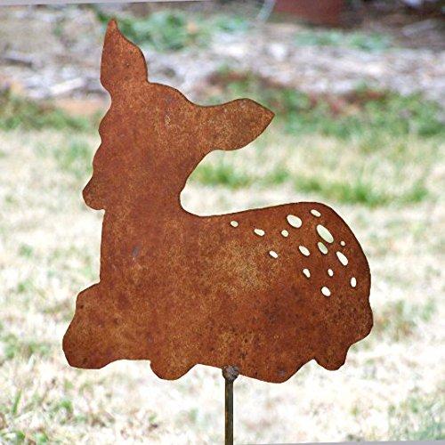 (Fawn yard stake - Baby deer garden stake - metal deer artwork - Fawn garden marker - Baby deer flowerbed - Fawn in laying position)