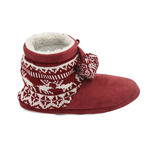 Women's Red Warm House Slipper Nitting Gohom Winter Boots Indoor fxwdzHfPq